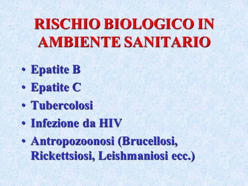 RISCHIO BIOLOGICO IN AMBIENTE SANITARIO