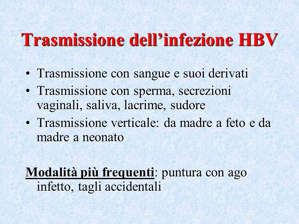 Trasmissione dell'infezione HBV
