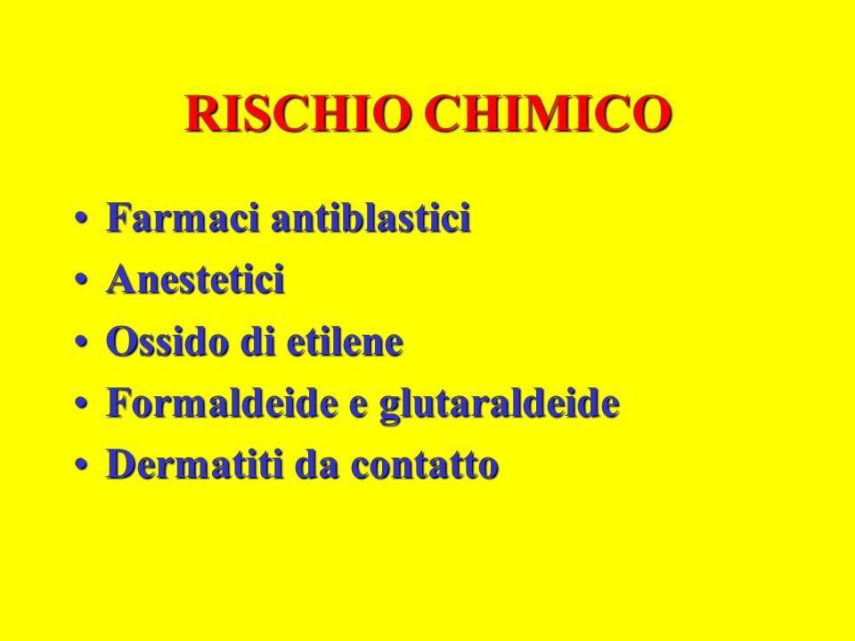 RISCHIO CHIMICO Farmaci antiblastici Anestetici Ossido di etilene