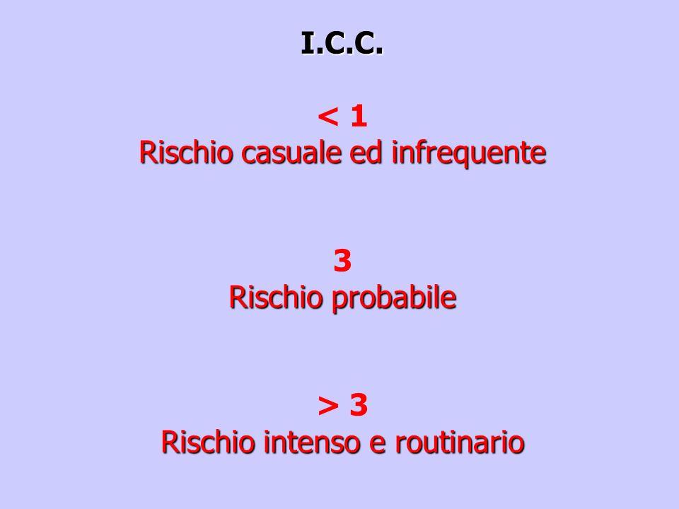 I.C.C. < 1 Rischio casuale ed infrequente 3 Rischio probabile > 3 Rischio intenso e routinario