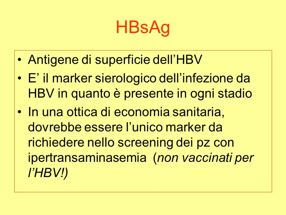 HBsAg Antigene di superficie dell'HBV
