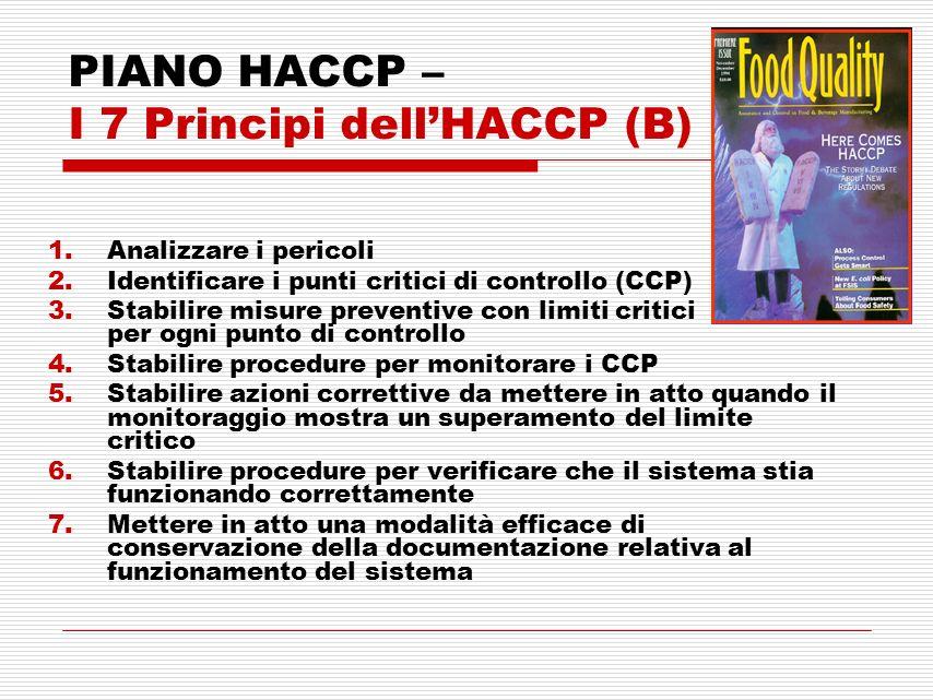 PIANO HACCP – I 7 Principi dell'HACCP (B)