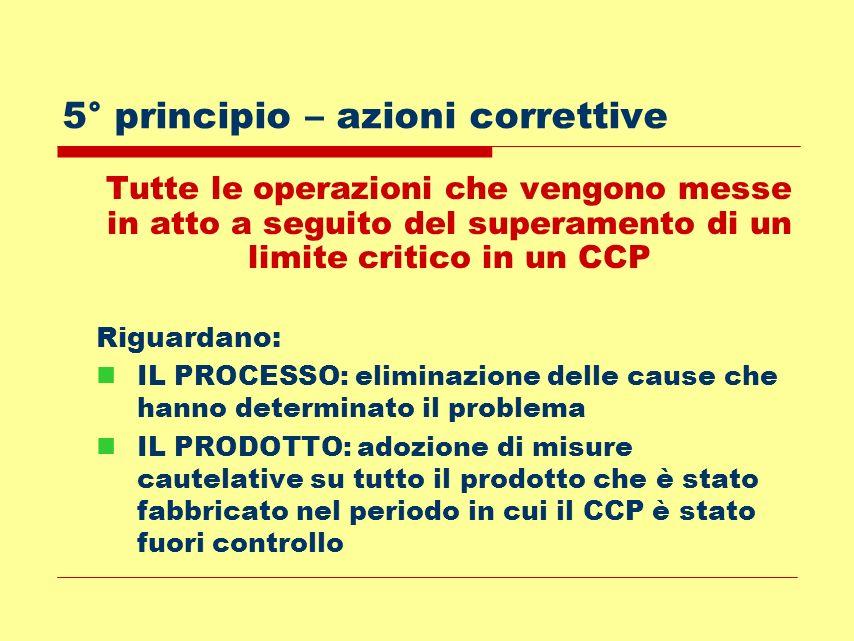 5° principio – azioni correttive