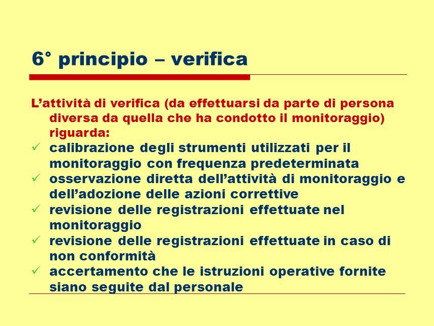 6° principio – verificaL'attività di verifica (da effettuarsi da parte di persona diversa da quella che ha condotto il monitoraggio) riguarda:
