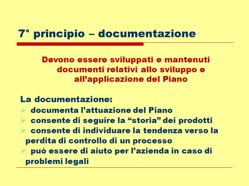 7° principio – documentazione