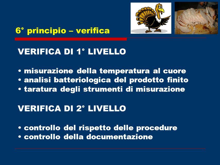 6° principio – verifica VERIFICA DI 1° LIVELLO VERIFICA DI 2° LIVELLO