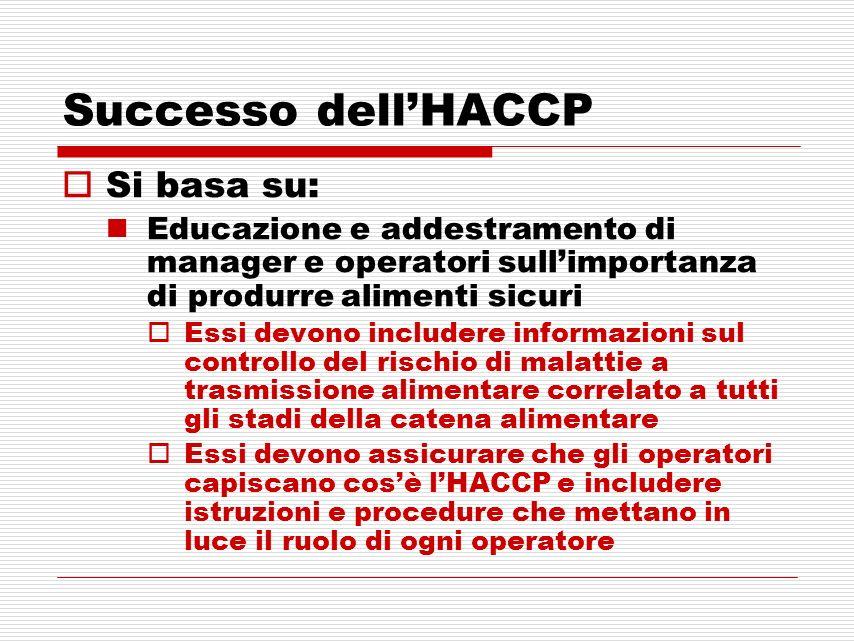 Successo dell'HACCP Si basa su: