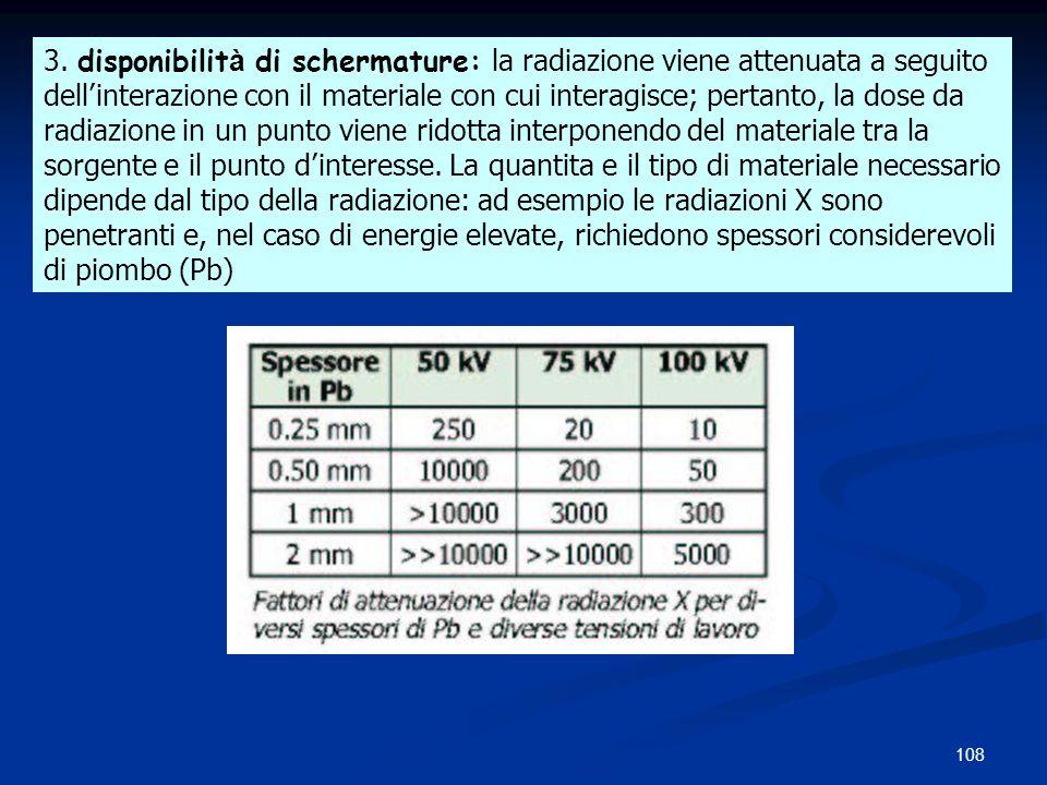 3. disponibilità di schermature: la radiazione viene attenuata a seguito
