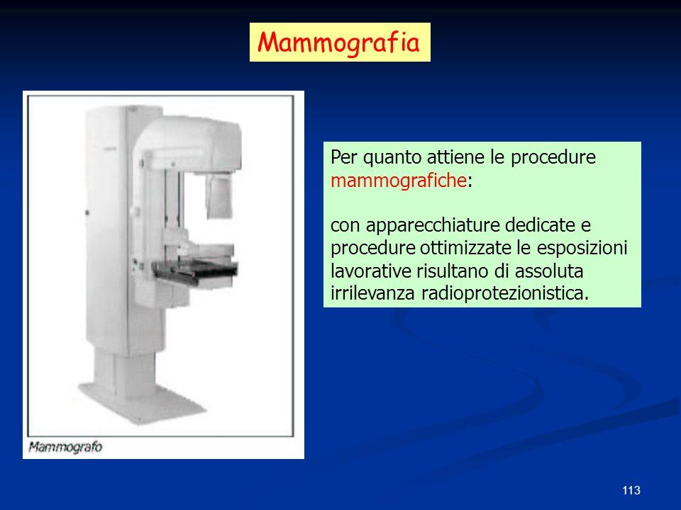 Mammografia Per quanto attiene le procedure mammografiche: