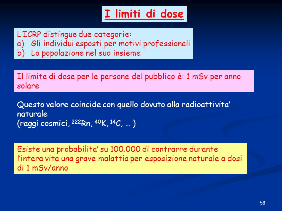I limiti di dose L'ICRP distingue due categorie: