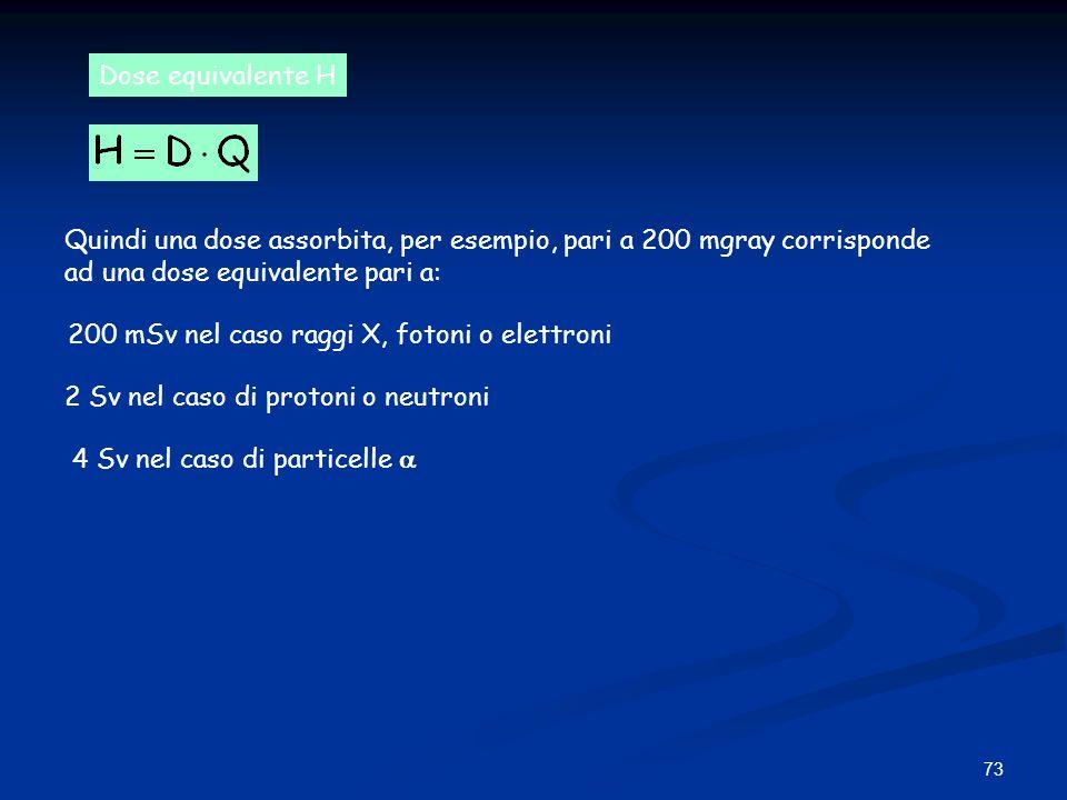 Dose equivalente H Quindi una dose assorbita, per esempio, pari a 200 mgray corrisponde. ad una dose equivalente pari a: