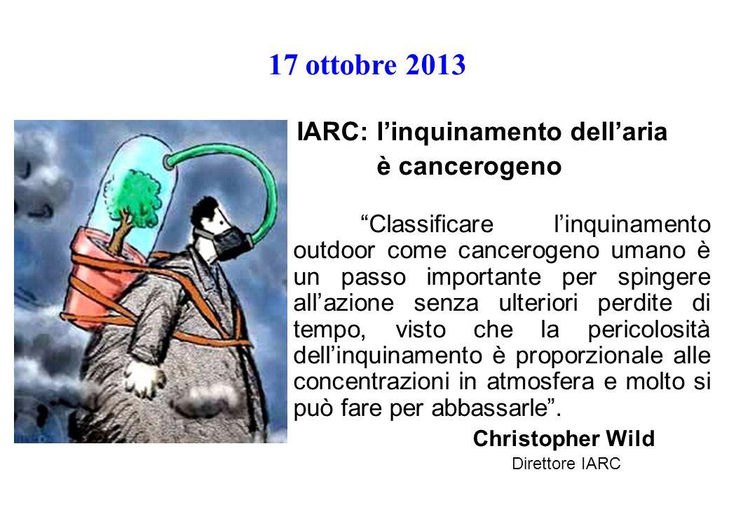 17 ottobre 2013 IARC: l'inquinamento dell'aria è cancerogeno