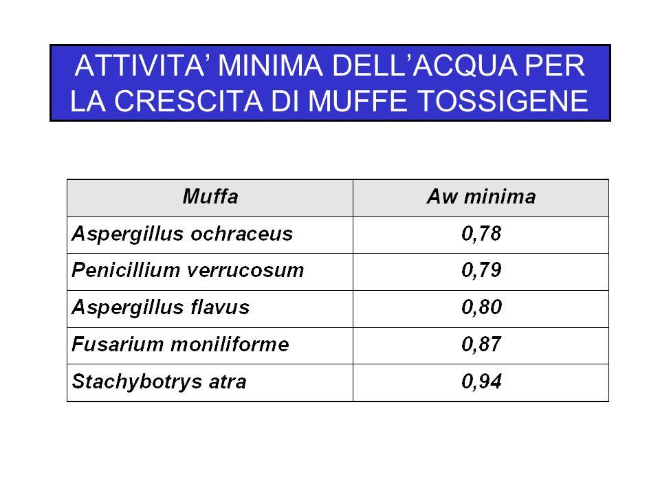 ATTIVITA' MINIMA DELL'ACQUA PER LA CRESCITA DI MUFFE TOSSIGENE