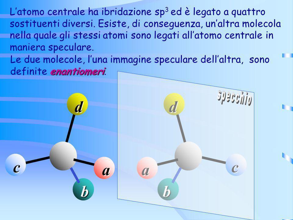 L'atomo centrale ha ibridazione sp3 ed è legato a quattro sostituenti diversi. Esiste, di conseguenza, un'altra molecola nella quale gli stessi atomi sono legati all'atomo centrale in maniera speculare.