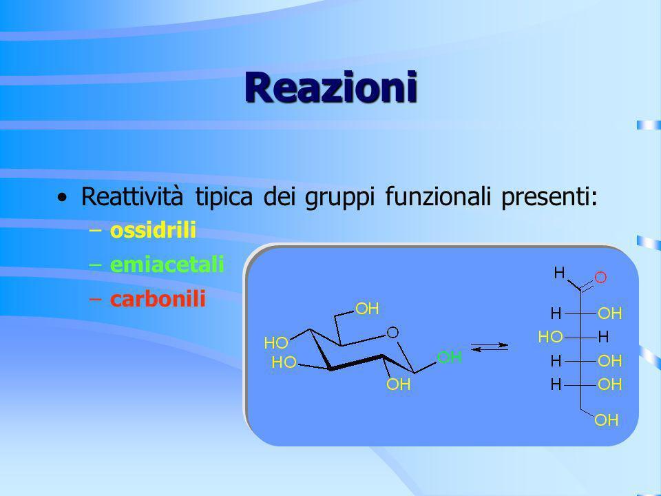 Reazioni Reattività tipica dei gruppi funzionali presenti: ossidrili