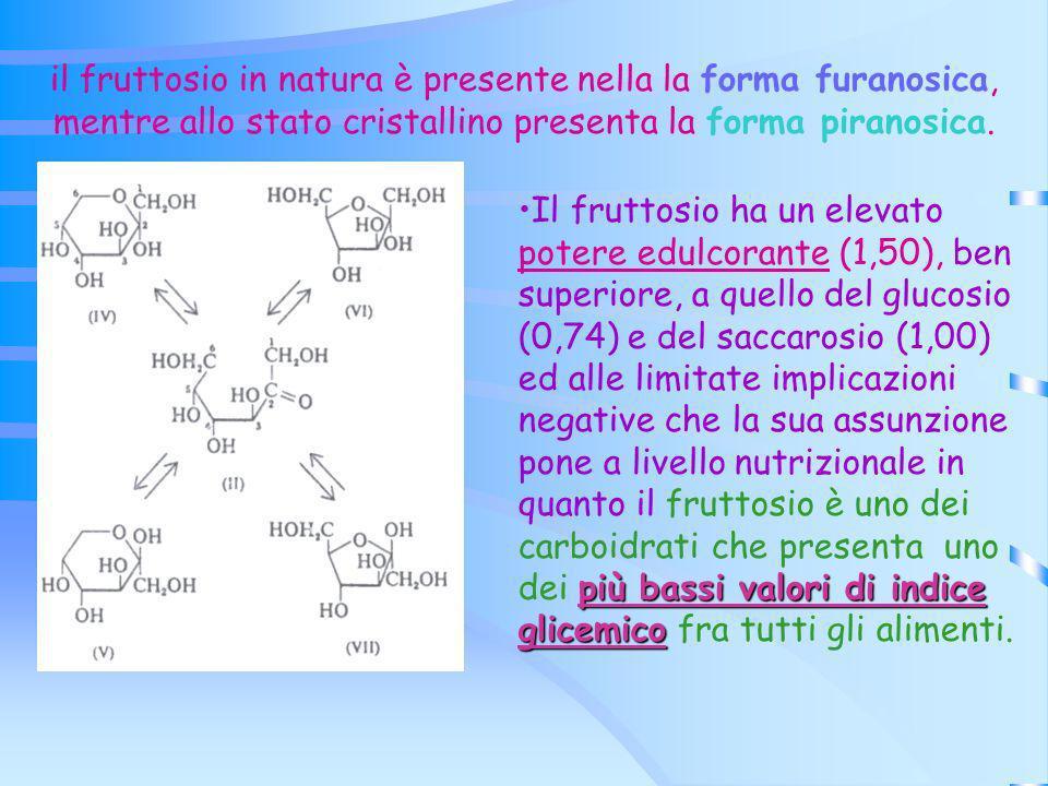 il fruttosio in natura è presente nella la forma furanosica, mentre allo stato cristallino presenta la forma piranosica.