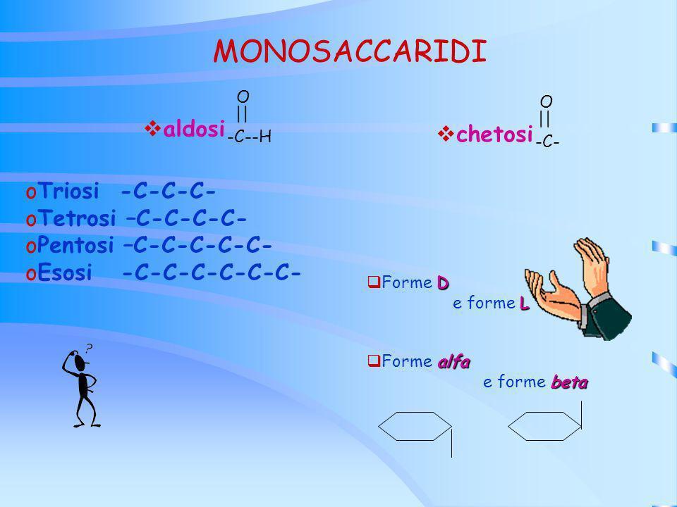 MONOSACCARIDI aldosi chetosi Triosi -C-C-C- Tetrosi –C-C-C-C-