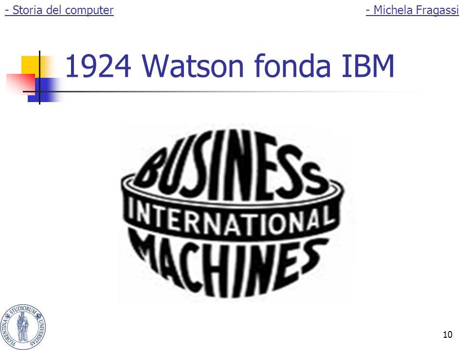 - Storia del computer - Michela Fragassi 1924 Watson fonda IBM