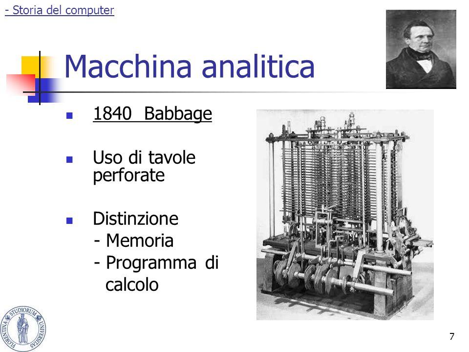 Macchina analitica 1840 Babbage Uso di tavole perforate Distinzione