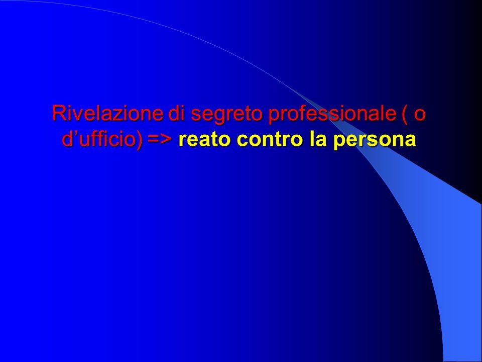 Rivelazione di segreto professionale ( o d'ufficio) => reato contro la persona