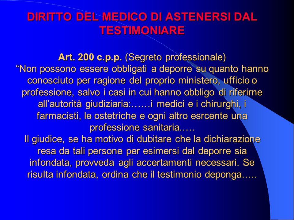 DIRITTO DEL MEDICO DI ASTENERSI DAL TESTIMONIARE Art. 200 c. p. p