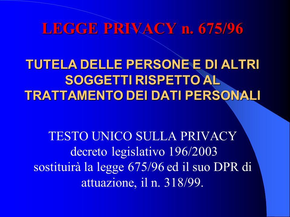LEGGE PRIVACY n.