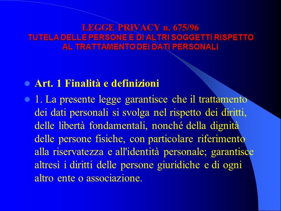 Art. 1 Finalità e definizioni