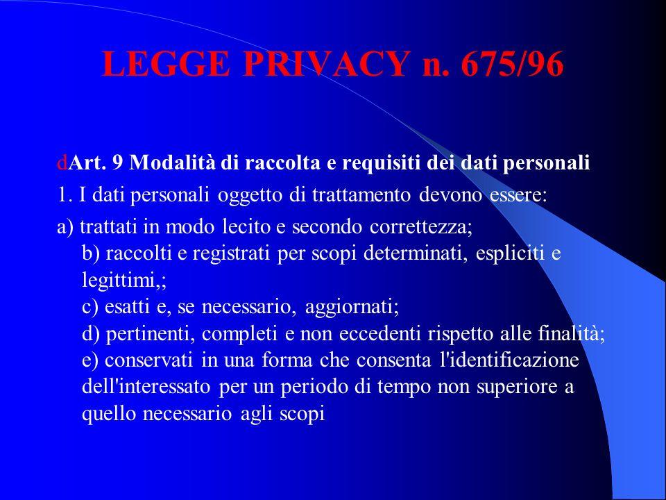 LEGGE PRIVACY n. 675/96 dArt. 9 Modalità di raccolta e requisiti dei dati personali. 1. I dati personali oggetto di trattamento devono essere:
