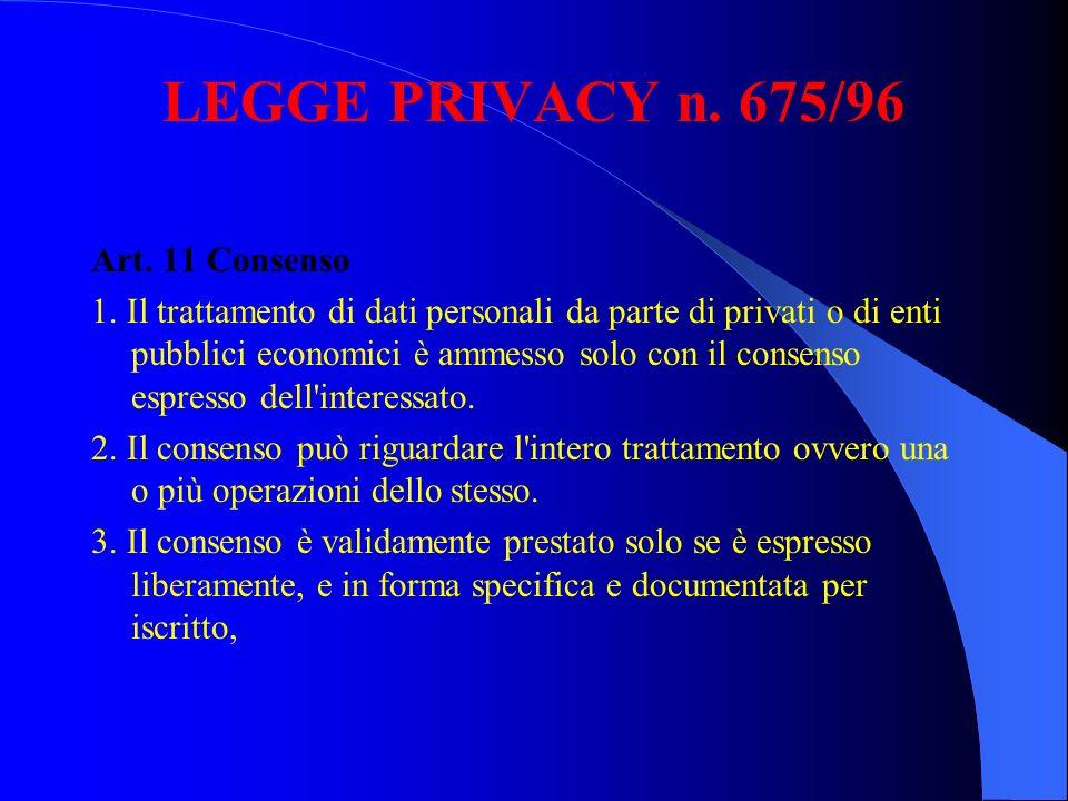 LEGGE PRIVACY n. 675/96 Art. 11 Consenso