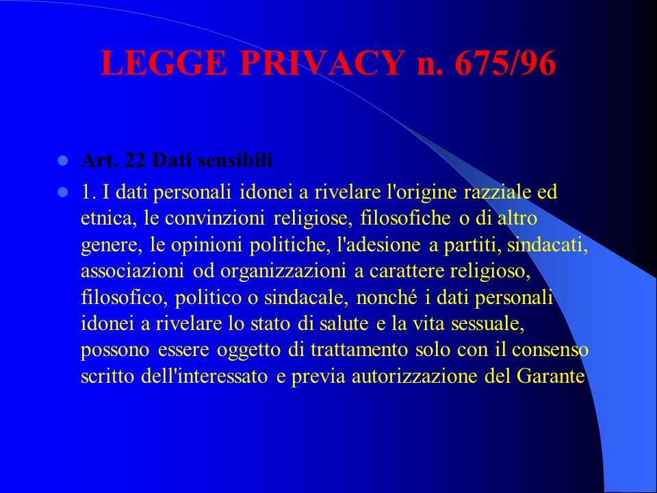 LEGGE PRIVACY n. 675/96 Art. 22 Dati sensibili