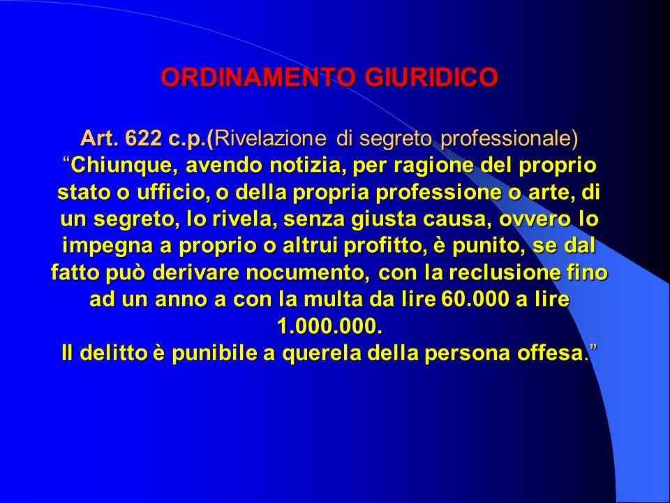 ORDINAMENTO GIURIDICO Art. 622 c. p