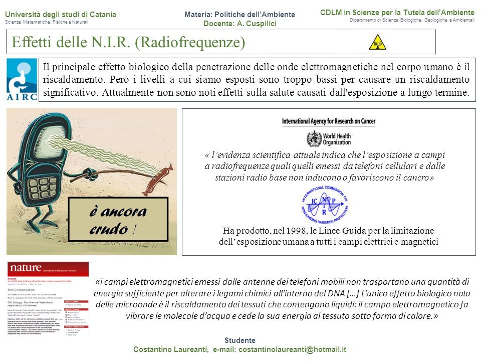 Effetti delle N.I.R. (Radiofrequenze)