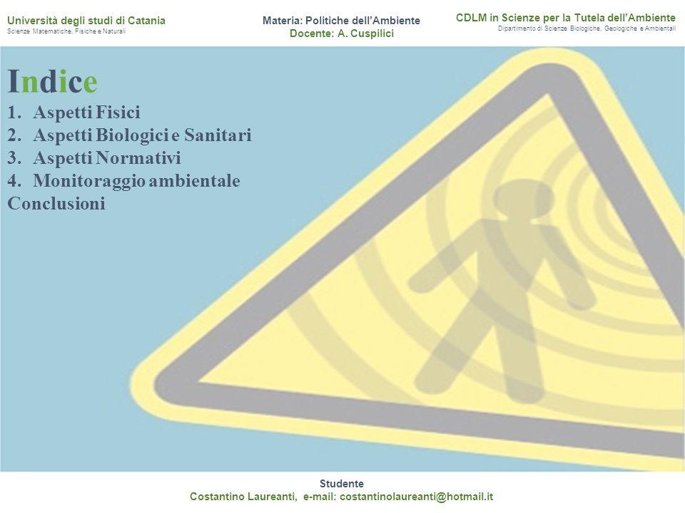 Indice Aspetti Fisici Aspetti Biologici e Sanitari Aspetti Normativi