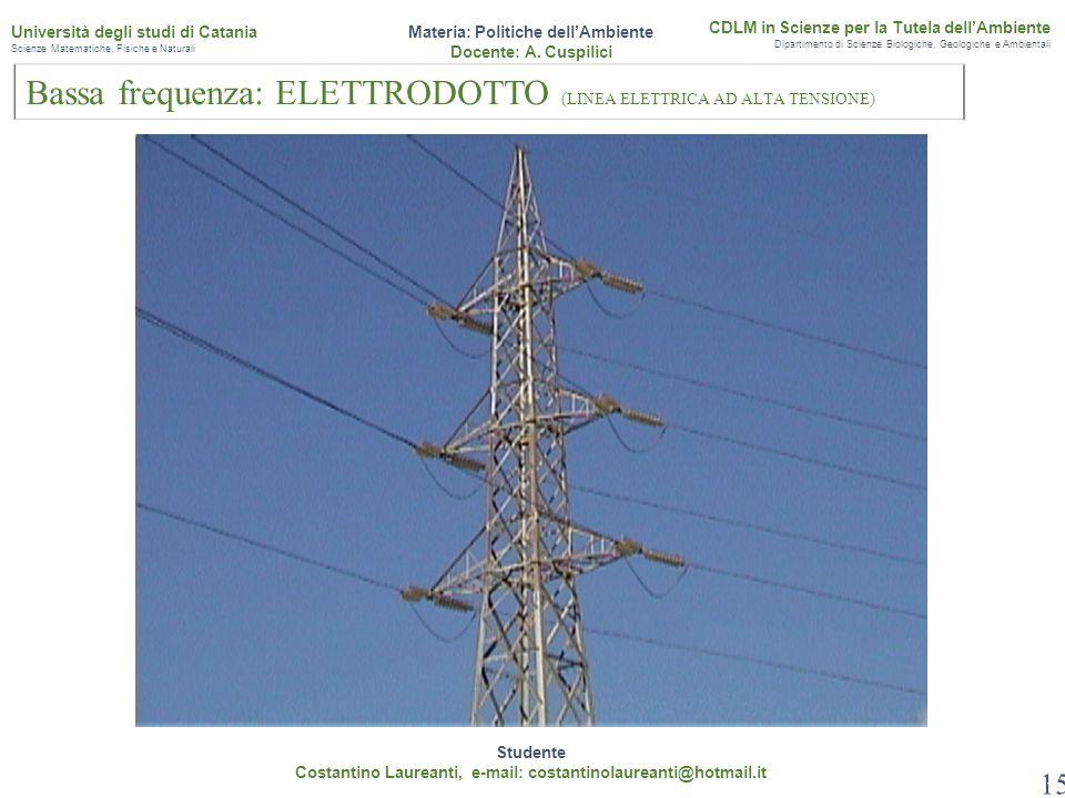 Bassa frequenza: ELETTRODOTTO (LINEA ELETTRICA AD ALTA TENSIONE)