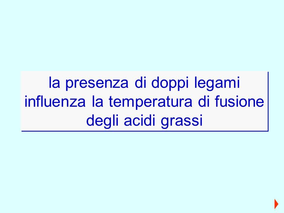 la presenza di doppi legami influenza la temperatura di fusione