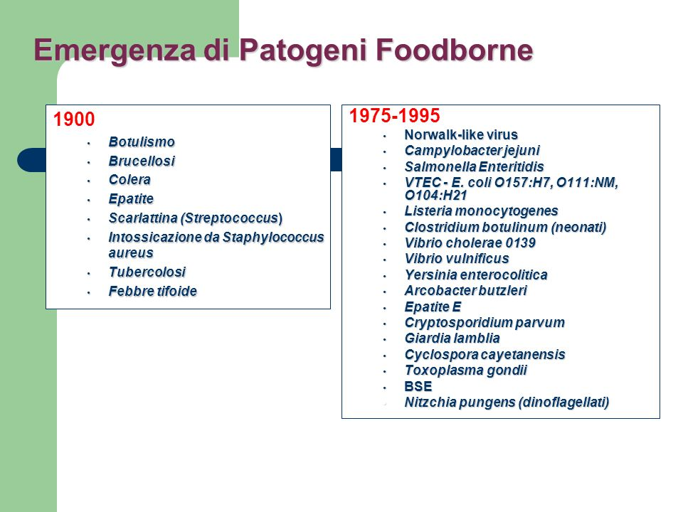 Emergenza di Patogeni Foodborne
