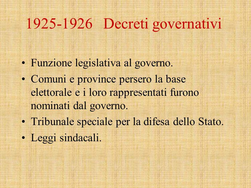 1925-1926 Decreti governativi Funzione legislativa al governo.