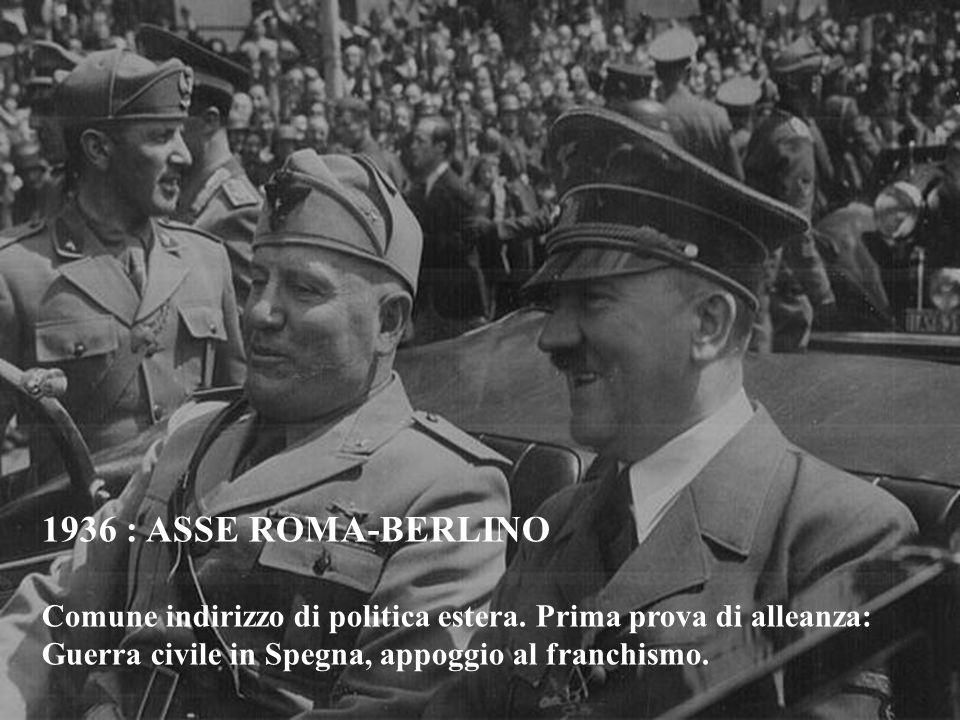 1936 : ASSE ROMA-BERLINO Comune indirizzo di politica estera.