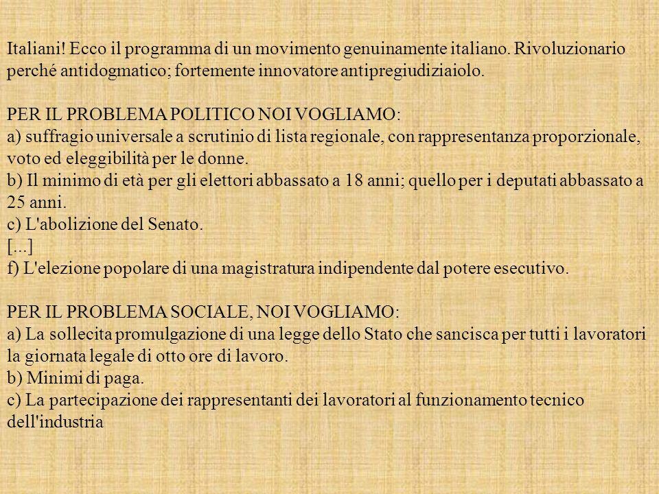 Italiani. Ecco il programma di un movimento genuinamente italiano