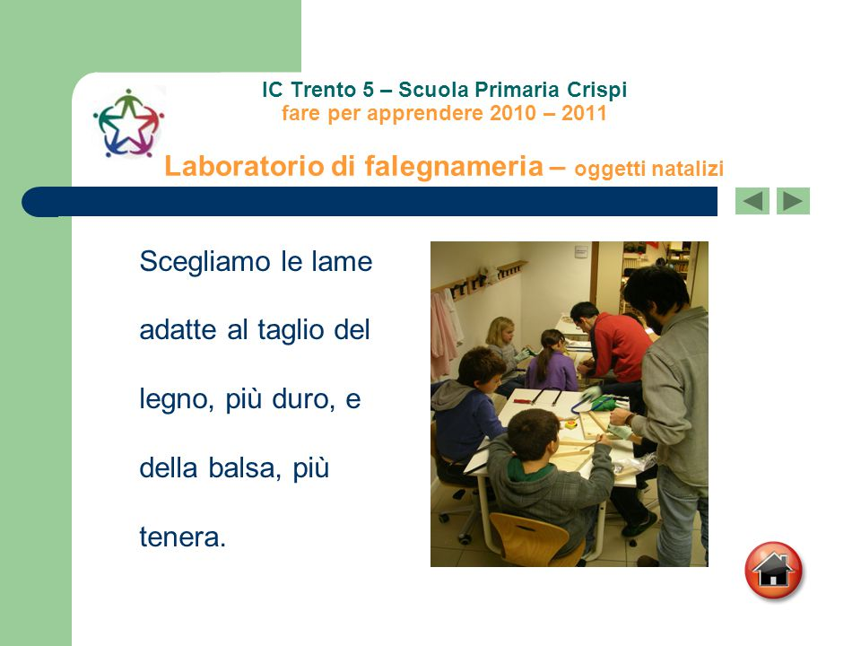 IC Trento 5 – Scuola Primaria Crispi fare per apprendere 2010 – 2011 Laboratorio di falegnameria – oggetti natalizi