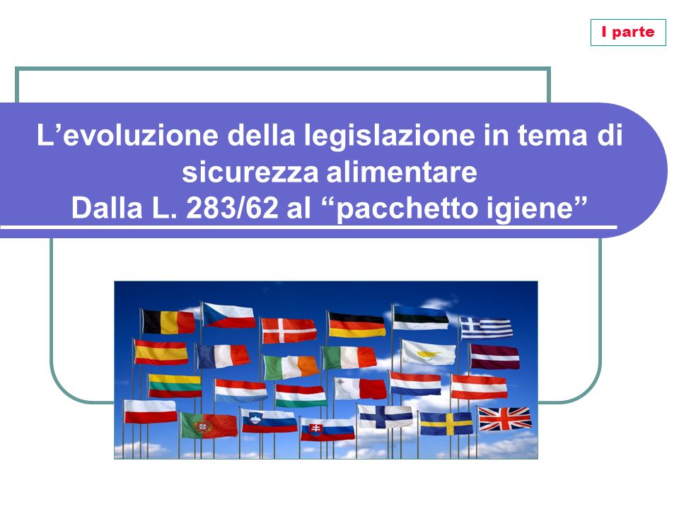 I parte L'evoluzione della legislazione in tema di sicurezza alimentare Dalla L.