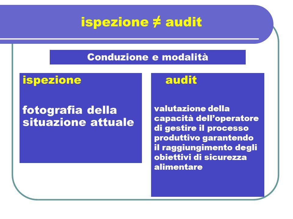 ispezione ≠ audit ispezione fotografia della situazione attuale audit