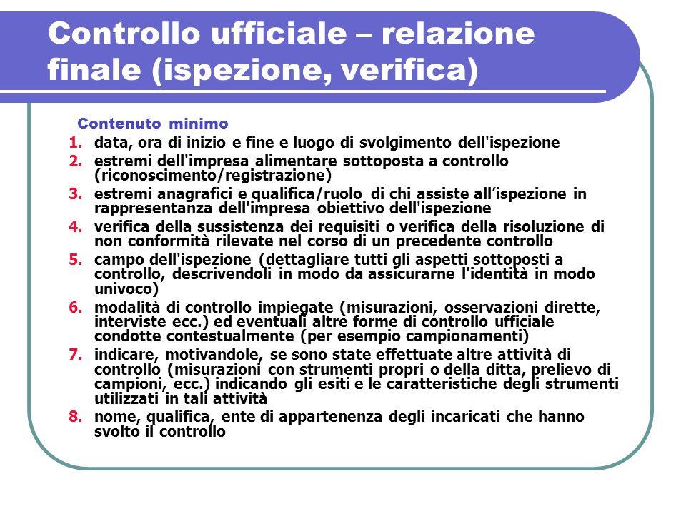 Controllo ufficiale – relazione finale (ispezione, verifica)