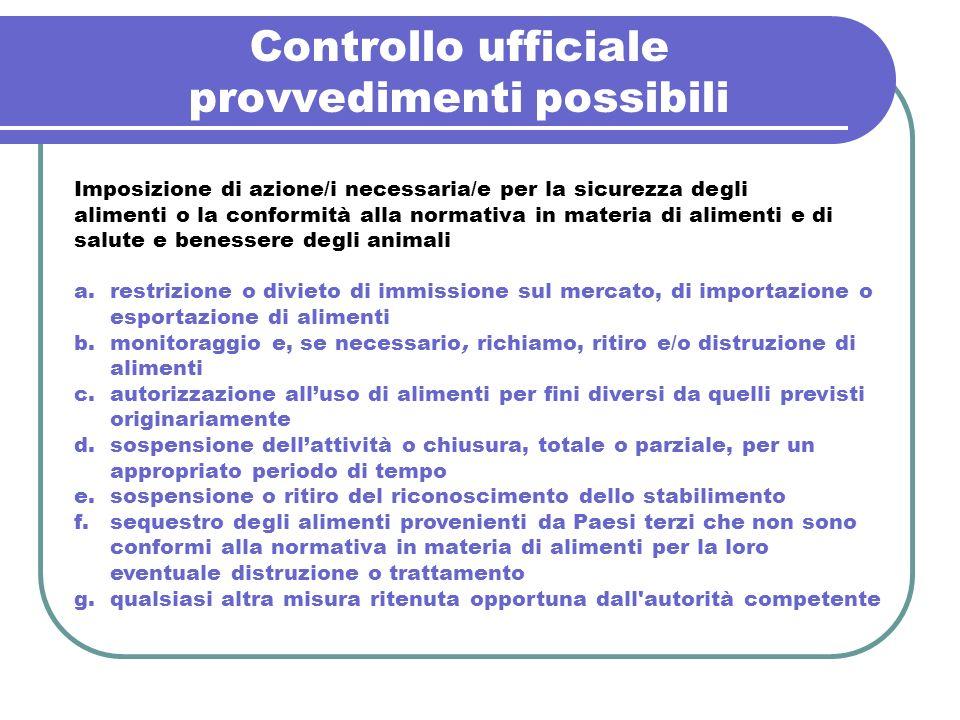 Controllo ufficiale provvedimenti possibili