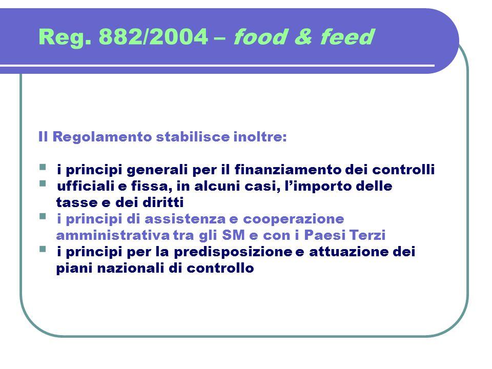 Reg. 882/2004 – food & feed Il Regolamento stabilisce inoltre: