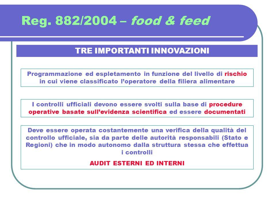 Reg. 882/2004 – food & feed TRE IMPORTANTI INNOVAZIONI