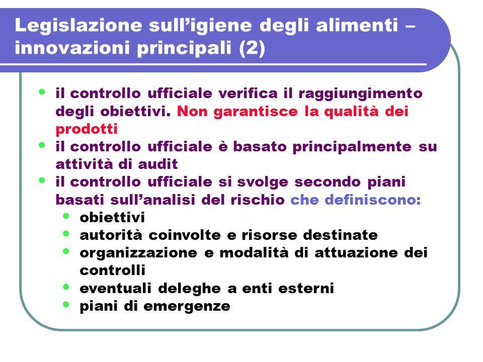 Legislazione sull'igiene degli alimenti – innovazioni principali (2)