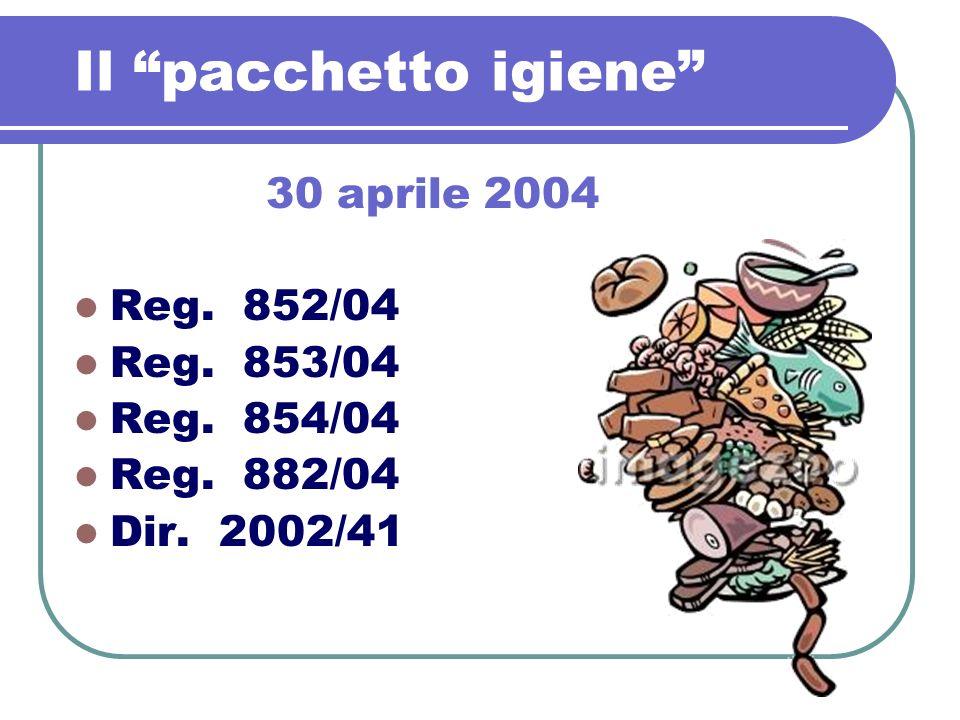 Il pacchetto igiene 30 aprile 2004 Reg. 852/04 Reg. 853/04