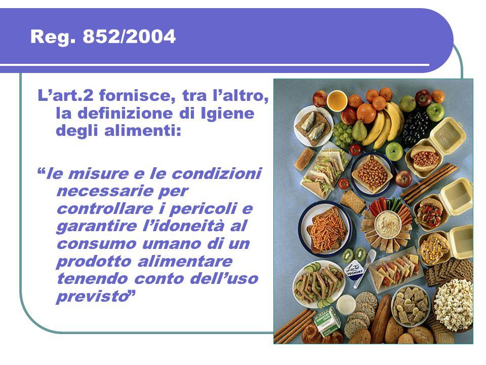 Reg. 852/2004 L'art.2 fornisce, tra l'altro, la definizione di Igiene degli alimenti: