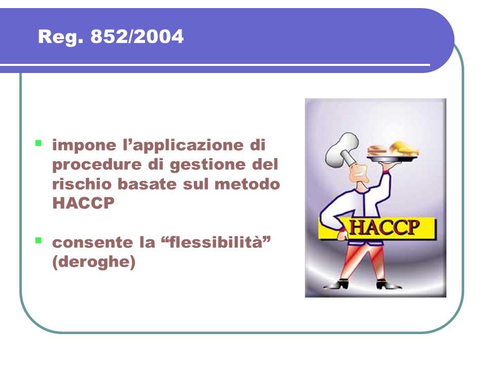 Reg. 852/2004 impone l'applicazione di procedure di gestione del rischio basate sul metodo HACCP. consente la flessibilità (deroghe)